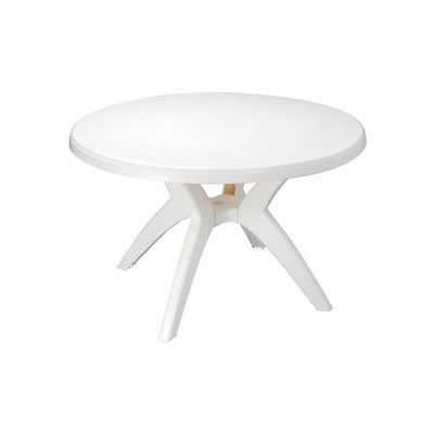 """Grosfillex® Ibiza Best Value 46"""" Outdoor Round Resin Table with Umbrella Hole - White"""