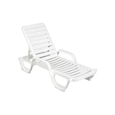 Grosfillex® Adjustable Resin Chaise - White  - Pkg Qty 6