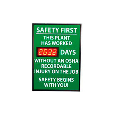 Digital Safety Scoreboard Sign - Safety First, This Plant, OSHA
