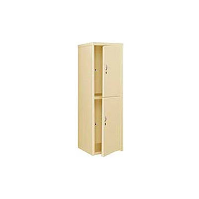 Pucel Heavy Duty Extra Wide Welded Steel Locker Double Tier 24x24x74 2 Door Putty
