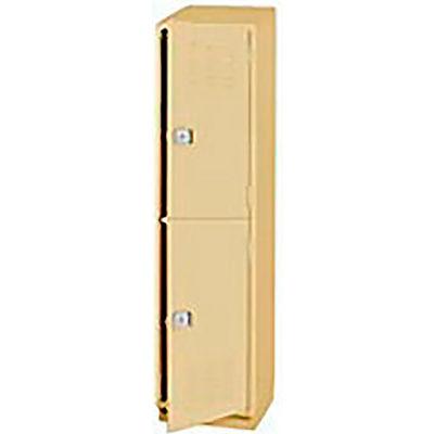 Pucel Heavy Duty Extra Wide Welded Steel Locker Double Tier 18x18x75 2 Door Putty
