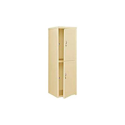 Pucel Heavy Duty Extra Wide Welded Steel Locker Double Tier 24x24x74 2 Door Putty