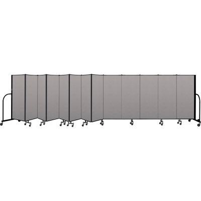 """Screenflex Portable Room Divider 13 Panel, 5'H x 24'1""""L, Vinyl Color: Gray"""