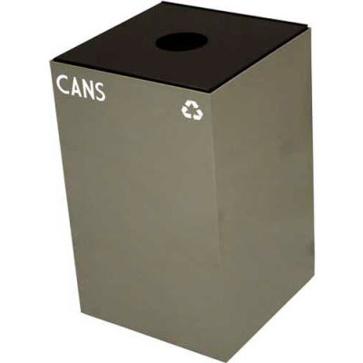 Steel Recycling Container with Bottle & Can Opening - 24 Gallon Capacity Gray - 24GC01-SL