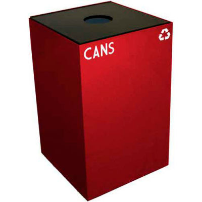 Steel Recycling Container with Bottle & Can Opening - 24 Gallon Capacity Red - 24GC01-SC