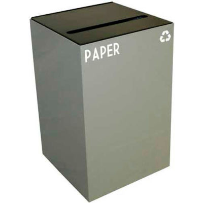 Steel Recycling Container with Paper Slot Opening - 24 Gallon Capacity Gray - 24GC02-SL