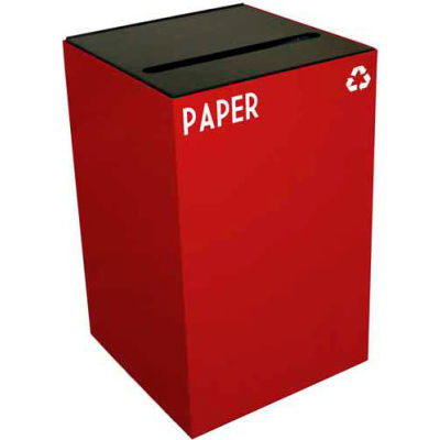 Steel Recycling Container with Paper Slot Opening - 24 Gallon Capacity Red - 24GC02-SC