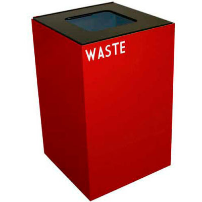 Steel Recycling Container with Waste Disposal Opening - 24 Gallon Capacity Red - 24GC03-SC