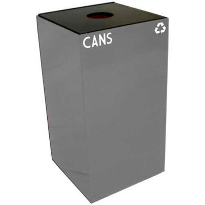Steel Recycling Container with Bottle & Can Opening - 28 Gallon Capacity Gray - 28GC01-SL