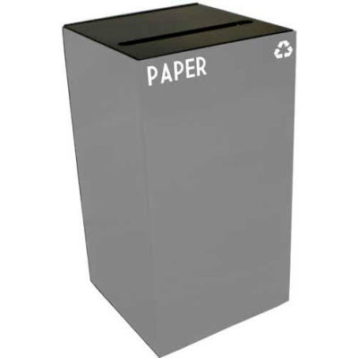 Steel Recycling Container with Paper Slot Opening - 28 Gallon Capacity Gray - 28GC02-SL