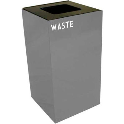 Steel Recycling Container with Waste Disposal Opening - 28 Gallon Capacity Gray - 28GC03-SL