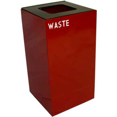 Steel Recycling Container with Waste Disposal Opening - 28 Gallon Capacity Red - 28GC03-SC