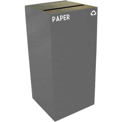 Steel Recycling Container with Paper Slot Opening - 32 Gallon Capacity Gray - 32GC02-SL
