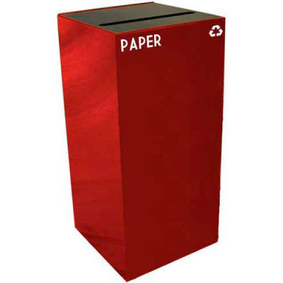 Steel Recycling Container with Paper Slot Opening - 32 Gallon Capacity Red - 32GC02-SC