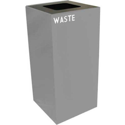 Steel Recycling Container with Waste Disposal Opening - 32 Gallon Capacity Gray - 32GC03-SL