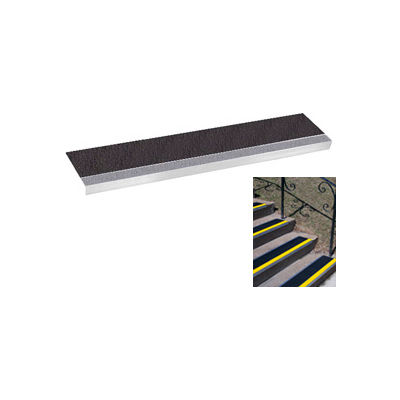 "Grit Surface Aluminum Stair Tread 7-1/2""D 42""W Glued Down Grayblack"