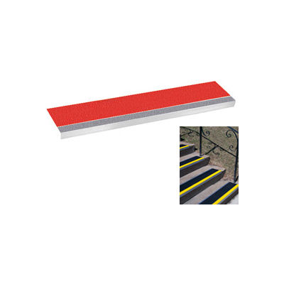 "Grit Surface Aluminum Stair Tread 9""D 36""W Glued Down Grayred"