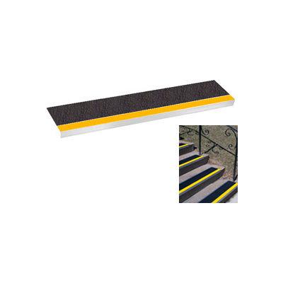 "Grit Surface Aluminum Stair Tread 9""D 42""W Glued Down Yellowblack"