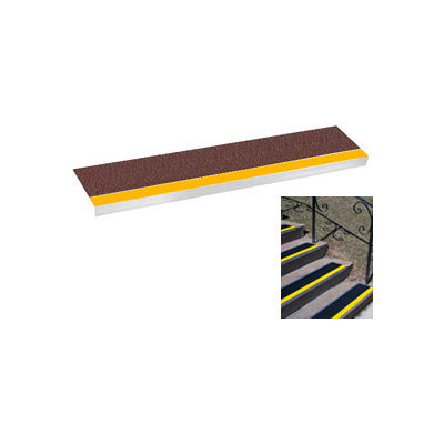 "Grit Surface Aluminum Stair Tread 9""D 54""W Glued Down Yellowbrown"
