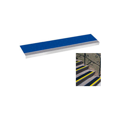 "Grit Surface Aluminum Stair Tread 11""D 30""W Glued Down Grayblue"