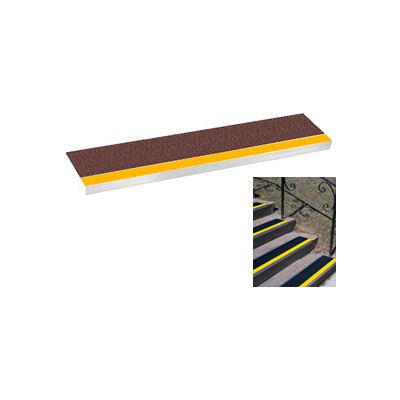 "Grit Surface Aluminum Stair Tread 11""D 36""W Glued Down Yellowbrown"