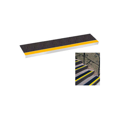 "Grit Surface Aluminum Stair Tread 11""D 60""W Glued Down Yellowblack"