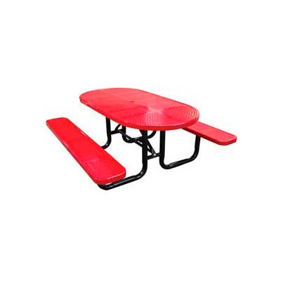 """72"""" Oval Perforated Metal Surface Mount Picnic Table - Red"""