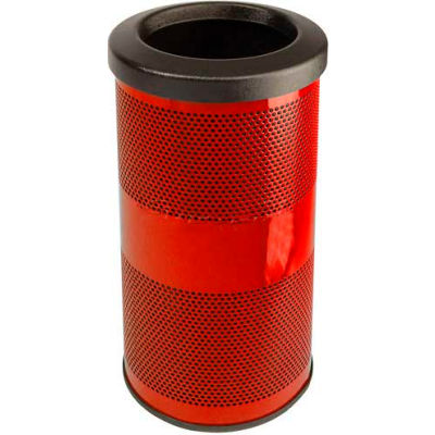 Perforated Stadium Series® Trash Container - 10 Gallon Red - SC10-01-RD