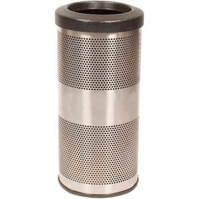 Perforated Stadium Series® Trash Container - 10 Gallon Stainless Steel - SC10-01-SS