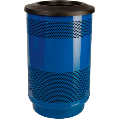 Perforated Stadium Series® Trash Container w/Flat Top - 55 Gallon Blue - SC55-01-BL-FT