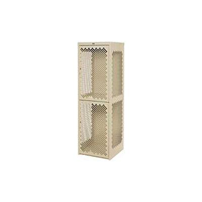 Pucel Heavy Duty Extra Wide Vented Steel Locker Double Tier 24x24x74 2 Door Putty