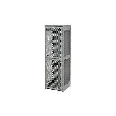 Pucel Heavy Duty Extra Wide Vented Steel Locker Double Tier 18x18x75 2 Door Gray