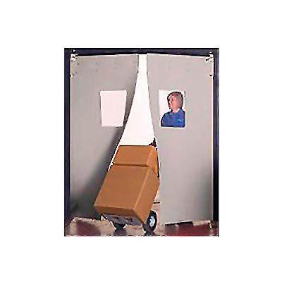 "Aleco® 6' x 7' x 0.25"" Twin Panel Gray Flexible Impact Traffic Door 436012"