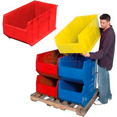 Quantum Hulk Plastic Stacking Bin QUS995RD 19-7/8 x 35-7/8 x 17-1/2 Red