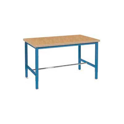 """72""""W x 30""""D Adjustable Height Workbench Square Tubular Leg - Shop Top Safety Edge - Blue"""