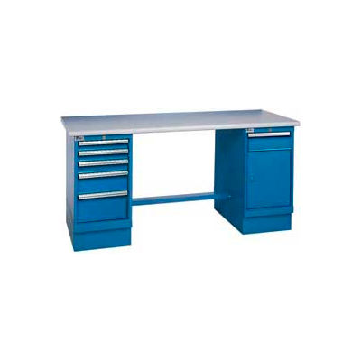 60x30 Safety Plastic Pedestal Workbench with 4 Drawers & Cabinet