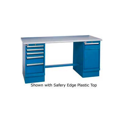 72x30 Square Maple Pedestal Workbench with 5 Drawers & Cabinet