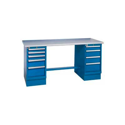72 x 30 Square Plastic Pedestal Workbench with 8 Drawers
