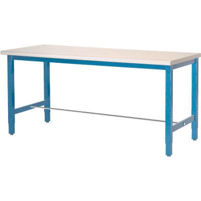 Global Industrial™ 60x24 Lab Workbench Adj Height Square Tubular Leg, Laminate Square Edge Blue