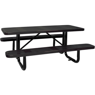 """96"""" Picnic Table Black (ADA) Perforated Metal Surface Mount"""
