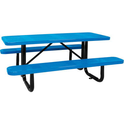 """96"""" Picnic Table Blue (ADA) Perforated Metal Surface Mount"""