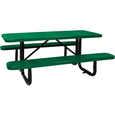 """96"""" Picnic Table Green (ADA) Perforated Metal Surface Mount"""