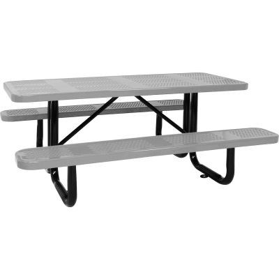 """96"""" Picnic Table Gray (ADA) Perforated Metal Surface Mount"""