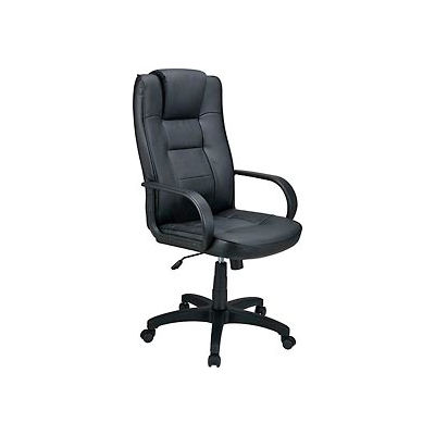 Interion® Executive Office Chair with Headrest - Breathable Leather - High Back - Black