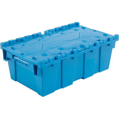 Global Industrial™ Plastic Attached Lid Shipping and Storage Container 19-5/8x11-7/8x7 Blue