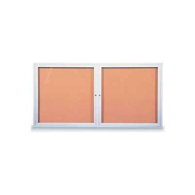 "United Visual Products Two-Door Outdoor Corkboard - 60""W x 36"""