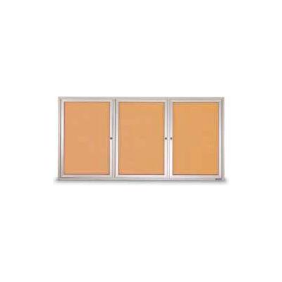 """United Visual Products Three-Door Outdoor Corkboard - 72""""W x 48"""""""