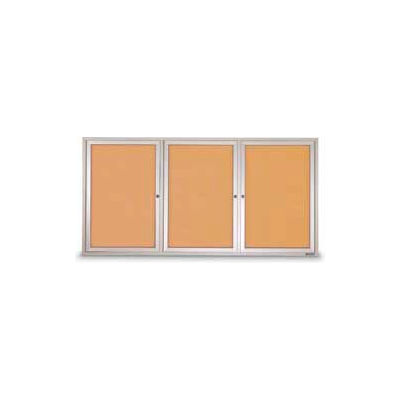 "United Visual Products Three-Door Outdoor Corkboard - 96""W x 48"""