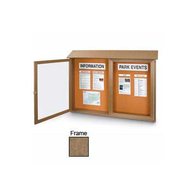 """United Visual Products Double-Door Outdoor Message Center - 45""""W x 30""""H - Weathered Wood"""