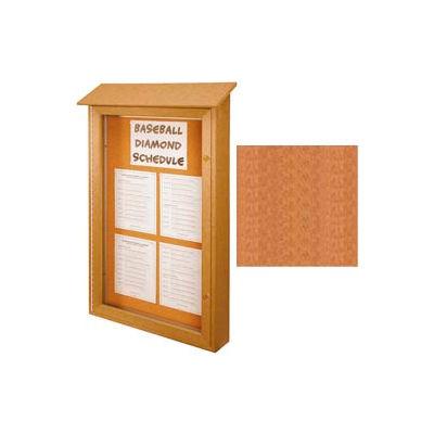 "United Visual Products Single-Door Outdoor Message Center - 32""W x 48""H - Cedar"